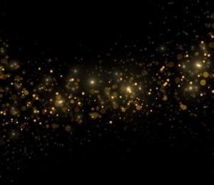 Shimmering golden lights against dark background