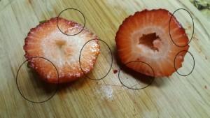 Halves of Overripe Strawberries