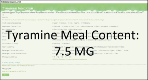 Tyramine Calculator Results
