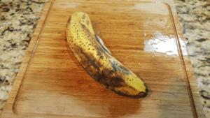 Overripe unpeeled banana